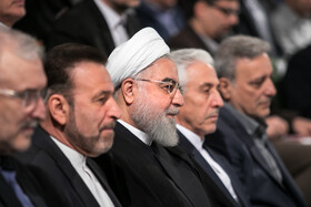 """Iranian President Hassan Rouhani (3rd, R) is present in a ceremony marking the beginning of academic year, Tehran, Iran, October 16, 2019. During the ceremony, President Hassan Rouhani said, """"Science is the basis for skill, advancement and development, and students have to learn skills and the future needs of the society alongside science""""."""