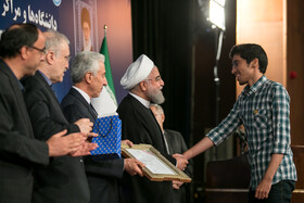 """A ceremony marking the beginning of academic year is held in the presence of Iranian President Hassan Rouhani, Tehran, Iran, October 16, 2019. During the ceremony, President Hassan Rouhani said, """"Science is the basis for skill, advancement and development, and students have to learn skills and the future needs of the society alongside science""""."""