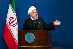 """Iranian President Hassan Rouhani delivers a speech during a ceremony marking the beginning of academic year, Tehran, Iran, October 16, 2019. During the ceremony, President Hassan Rouhani said, """"Science is the basis for skill, advancement and development, and students have to learn skills and the future needs of the society alongside science""""."""