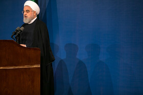 "Iranian President Hassan Rouhani delivers a speech during a ceremony marking the beginning of academic year, Tehran, Iran, October 16, 2019. During the ceremony, President Hassan Rouhani said, ""Science is the basis for skill, advancement and development, and students have to learn skills and the future needs of the society alongside science""."