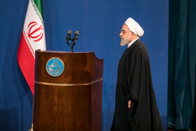 """Iranian President Hassan Rouhani is present in a ceremony marking the beginning of academic year, Tehran, Iran, October 16, 2019. During the ceremony, President Hassan Rouhani said, """"Science is the basis for skill, advancement and development, and students have to learn skills and the future needs of the society alongside science""""."""