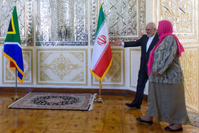 Iranian Foreign Minster Mohammad Javad Zarif and the Minister of International Relations and Cooperation of South Africa Naledi Pandor are seen before their meeting starts, Tehran, Iran, October 16, 2019.