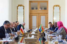 A meeting between Iranian Foreign Minister Mohammad Javad Zarif and the Minister of International Relations and Cooperation of South Africa, Naledi Pandor, and their accompanying delegations is held in Tehran, Iran, October 16, 2019.