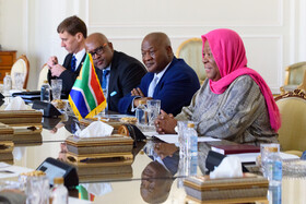 The South African delegation headed by the Minister of International Relations and Cooperation of South Africa, Naledi Pandor (R), is seen during a meeting with Iranian Foreign Minister Mohammad Javad Zarif, Tehran, Iran, October 16, 2019.
