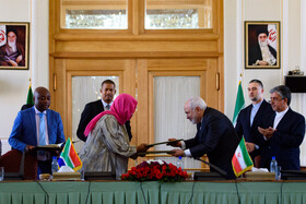 A meeting between Iranian Foreign Minister Mohammad Javad Zarif and the Minister of International Relations and Cooperation of South Africa, Naledi Pandor, is held in Tehran, Iran, October 16, 2019.