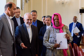On the sidelines of a meeting between Iranian Foreign Minister Mohammad Javad Zarif and the Minister of International Relations and Cooperation of South Africa, Naledi Pandor, in Tehran, Iran, October 16, 2019.