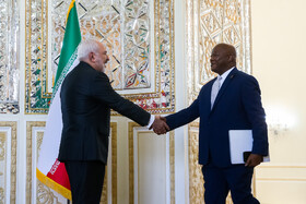 A member of the South African delegation headed by the Minister of International Relations and Cooperation of South Africa, Naledi Pandor, is welcomed by Iranian Foreign Minister Mohammad Javad Zarif, Tehran, Iran, October 16, 2019.