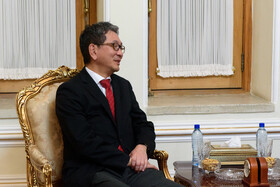 Japan's Senior Deputy Minister for Foreign Affairs, Takeo Mori, is seen in his meeting with Iranian Foreign Minister Mohammad Javad Zarif, Tehran, Iran, October 16, 2019.