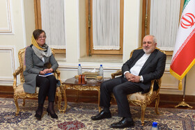 A meeting between Iranian Foreign Minister Mohammad Javad Zarif (R) and the State Secretary for Foreign Affairs of Sweden, Annika Söder, is held in Tehran, Iran, October 16, 2019.