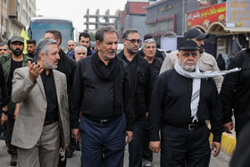 Iran's First Vice-President Es'haq Jahangiri (2nd,  L) is seen during his visit from Iraq, October 19, 2019. Iran's First Vice-President Es'haq Jahangiri travelled to Iraq on Saturday in order to attend the mourning ceremony of Arbaeen in Iraqi city of Karbala as well as meeting with Iraqi officials responsible for holding Arbaeen rituals.