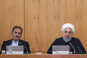 Iranian President Hassan Rouhani (R) and Iranian First Vice-President Es'haq Jahangiri are present in the session of Iran's cabinet ministers, Tehran, Iran, October 23, 2019.