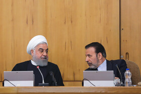 Iranian President Hassan Rouhani (L) and Iranian President's Chief of Staff Mahmoud Vaezi are present in the session of Iran's cabinet ministers, Tehran, Iran, October 23, 2019.