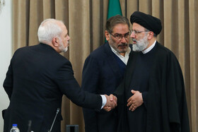 Iran's Judiciary Chief Ebrahim Raeisi (R), secretory of Iran's Supreme National Security Council Ali Shamkhani (M) and Iranian Foreign Minister Mohammad Javad Zarif are present in the meeting of Iran's High Council for Human Rights, Tehran, Iran, November 3, 2019.