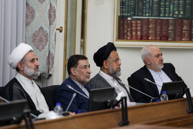 Iranian Foreign Minister Mohammad Javad Zarif (R) and Iranian Justice Minister Alireza Avayi (2nd, L) are present in the meeting of Iran's High Council for Human Rights, Tehran, Iran, November 3, 2019.