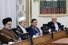 Iranian Foreign Minister Mohammad Javad Zarif (R) and Iranian Justice Minister Alireza Avayi (2nd, R) are present in the meeting of Iran's High Council for Human Rights, Tehran, Iran, November 3, 2019.