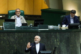 Iranian Foreign Minister Mohammad Javad Zarif answers the questions of MPs during the public session of Iran's Parliament, Tehran, Iran, November 3, 2019.