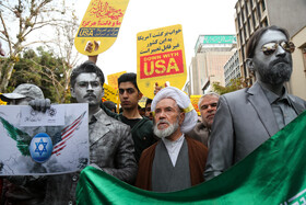 People of Tehran hold rallies to mark the 40th occupation anniversary of the former US embassy in Tehran, Iran, November 4, 2019.