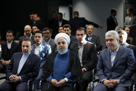 Iranian President Hassan Rouhani (M) is seen on the sidelines of the opening ceremony of the Azadi Innovation Factory, Tehran, Iran, November 5, 2019.