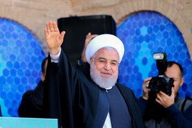 Iranian President Hassan Rouhani is seen during his visit to Yazd City, Iran, November 10, 2019.