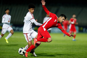 The football match between Iran U19 men's national football team and the United Arab Emirates, Tehran, Iran, November 10, 2019. Iran defeated the United Arab Emirates 2-0 at the 2020 AFC U19 Championship Qualifiers.