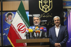 Iranian Interior Minister Abdolreza Rahmani Fazli (L) delivers a speech during the inauguration ceremony of Iran's Election Department, Tehran, Iran, November 11, 2019.