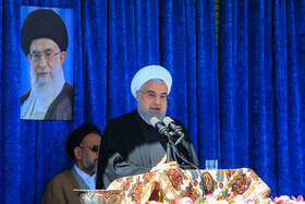 Iranian President Hassan Rouhani delivers a speech during his two-day visit to Kerman Province, Iran, November 11, 2019.