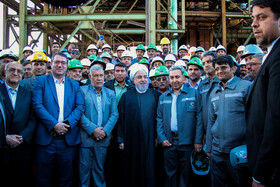 The inauguration ceremony of Line 2 of Mega-module Direct Recovery Plant of Gol Gohar Iron and Steel Development Company and the steam section of Goharan Combined-Cycle Power Plant is held in the presence of Iranian President Hassan Rouhani, Kerman, Iran, November 12, 2019.