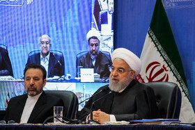 Iranian President Hassan Rouhani (R) is seen on the second day of his visit to Kerman, Iran, November 12, 2019.