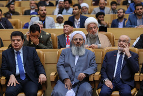 Molavi Abdul Hamid (M), a high-ranking Iranian Sunni cleric, is present in the opening ceremony of the 33rd International Islamic Unity Conference, Tehran, Iran, November 14, 2019.