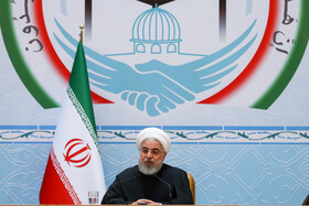Iranian President Hassan Rouhani delivers a speech during the opening ceremony of the 33rd International Islamic Unity Conference, Tehran, Iran, November 14, 2019.