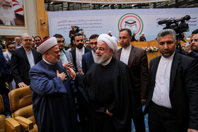 Iranian President Hassan Rouhani (2nd, L) is seen on the sidelines of the opening ceremony of the 33rd International Islamic Unity Conference, Tehran, Iran, November 14, 2019.