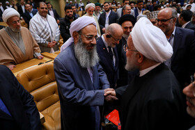 Iranian President Hassan Rouhani (R) and Molavi Abdul Hamid (L), a high-ranking Iranian Sunni cleric, are seen on the sidelines of the opening ceremony of the 33rd International Islamic Unity Conference, Tehran, Iran, November 14, 2019.