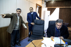 Former Iranian President Mahmoud Ahmadi Nejad (L) is seen on the sidelines of the session of Iran's Expediency Discernment Council, Tehran, Iran, November 27, 2019.