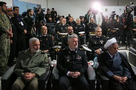 Navy Commander Rear Admiral Hossein Khanzadi (M) is present in the unveiling ceremony of Iranian Navy's new military achievements, Tehran, Iran, November 30, 2019.