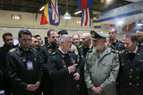 Navy Commander Rear Admiral Hossein Khanzadi (front, L) is seen on the sidelines of the unveiling ceremony of Iranian Navy's new military achievements, Tehran, Iran, November 30, 2019.