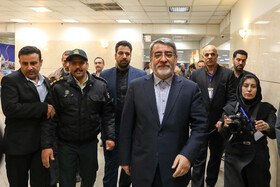 Iranian Interior Minister Abdolreza Rahmani Fazli (front) is seen on the sidelines of the first day of registering Iran's Parliamentary candidates, Tehran, Iran, December 1, 2019.