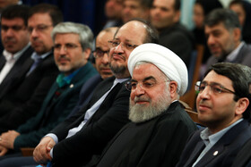 Iranian President Hassan Rouhani (2nd, R) is present in a ceremony held to mark the International Day of Persons with Disabilities, Tehran, Iran, December 3, 2019.