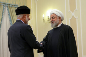 The meeting between Oman's Foreign Minister Yusuf Bin Alawi (L) and Iranian President Hassan Rouhani, Tehran, Iran, December 3, 2019.