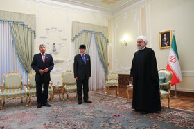 The meeting between Oman's Foreign Minister Yusuf Bin Alawi and Iranian President Hassan Rouhani, Tehran, Iran, December 3, 2019.