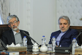 The head of Iran's Planning and Budget Organization Mohammad Bagher Nobakht (R) is present in the meeting of Iran's Supreme Council of Cultural Revolution, Tehran, Iran, December 10, 2019.
