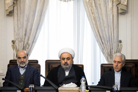 Iran's Minister of Science, Research and Technology Mansour Gholami (R) is present in the meeting of the Supreme Council of Cyberspace, Tehran, Iran, December 14, 2019.