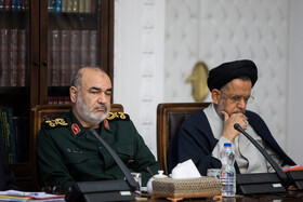 Chief Commander of Islamic Revolutionary Guards Corpse (IRGC) Major General Hossein Salami (L) and Iran's Intelligence Minister Mahmoud Alavi are present in the meeting of the Supreme Council of Cyberspace, Tehran, Iran, December 14, 2019.