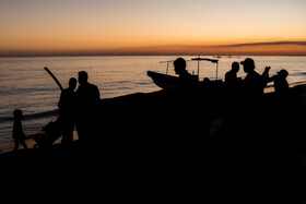 Fishermen are seen taking their boats to the beach after work, Hormozgan, Iran, November 26, 2019. 