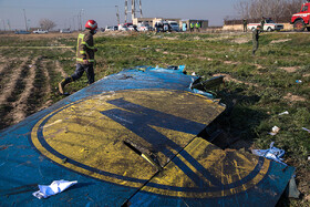 The wreckage of a Ukrainian passenger plane which crashd a few minutes after taking off from Tehran's Imam Khomeini International Airport, is seen in the photo, Tehran, Iran, January 8, 2020.