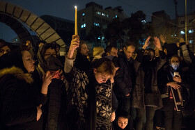 University students hold a candlelight vigil for the victims of the Ukrainian plane crash, Tehran, Iran, January 11, 2020.