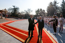 Syrian Prime Minister Imad Khamis is welcomed by Iranian First Vice-President Es'haq Jahangiri during his visit to Tehran, Iran, January 13, 2020.