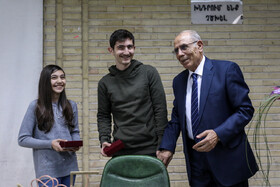 Professor Megerdich Toomanian (R) is seen during a ceremony held for honoring him, Tehran, Iran, January 23, 2020.