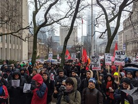 Canadian protesters call for end to US sanctions against Iran