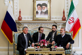 The meeting between the Chairman of the State Duma Vyacheslav Volodin and Iran's Parliament Speaker Ali Larijani, Tehran, Iran, January 27, 2020.