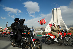 Motorcyclists of Iran's Armed Forces stage a parade concurrent with the anniversary of Imam Khomeini's arrival to Iran, Tehran, February 1, 2020.